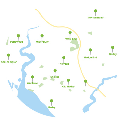 Map of Pest Control Services in Southampton, Hampshire including Hedge End, Park Gate, Warsash, West End, Botley, Durley, Curdridge, Bishops Wartham, Droxford, Meon Valley, Fareham, Fair Oak and more